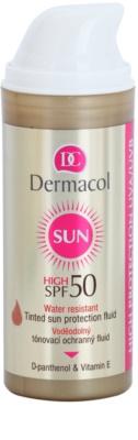 Dermacol Sun Water Resistant fluido facial com cor à prova de água SPF 50 1