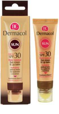 Dermacol Sun Water Resistant crema solar facial resistente al agua con bálsamo labial SPF 30 1
