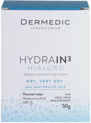 Dermedic Hydrain3 Hialuro tiefenwirksame feuchtigkeitsspendende Creme SPF 15 4