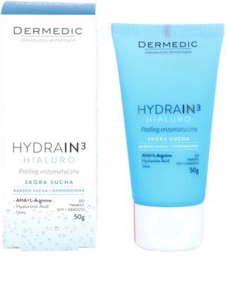 Dermedic Hydrain3 Hialuro exfoliante enzimático para pieles deshidratadas y secas 1