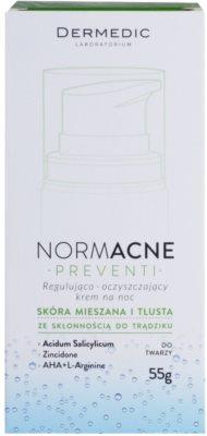 Dermedic Normacne Preventi crema facial de noche reguladora y limpiadora 4