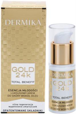 Dermika Gold 24k Total Benefit luxuriöse verjüngende Creme für die Augenpartien 2