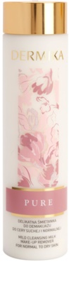 Dermika Pure leite de limpeza suave para pele normal a seca