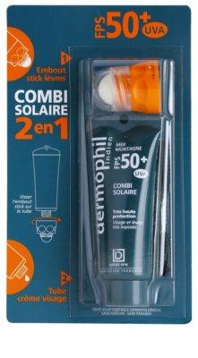 Dermophil Sun crema protectora para rostro y bálsamo de labios 2 en 1 SPF 50+