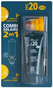 Dermophil Sun Schutzcreme für das Gesicht und Lippenbalsam 2in1 SPF 20