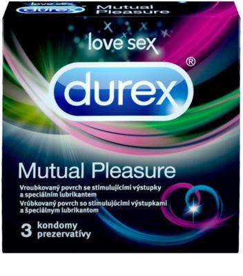 Durex Mutual Pleasure Óvszer bordázott felülettel és stimuláló pontokkal