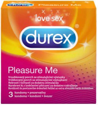 Durex Pleasure Me Óvszer bordázott felülettel, bemélyedő és kiemelkedő pontokkal