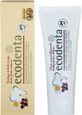 Ecodenta Kids pasta de dientes para niños con aroma de grosella negra y extracto de manzanilla 1