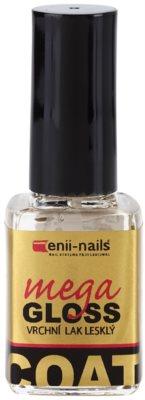 Enii Nails Top Coat Mega Gloss zaščitni  nadlak za nohte s sijajem