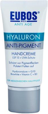 Eubos Hyaluron Creme de mãos contra manchas de pigmentação SPF 15
