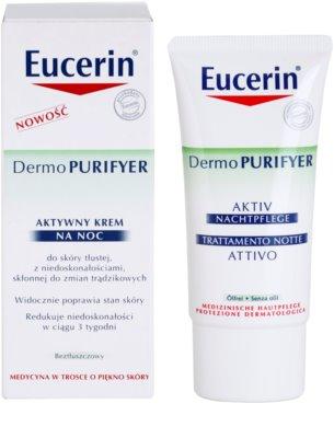 Eucerin Dermo Purifyer Feuchtigkeitsspendende Nachtcreme für fettige und problematische Haut 1
