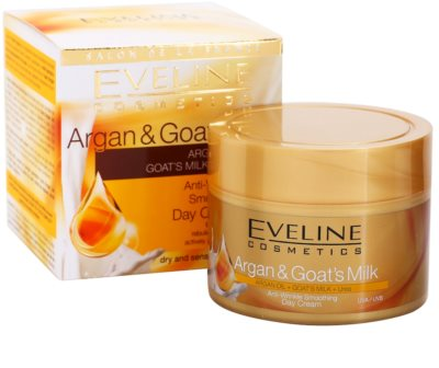 Eveline Cosmetics Argan & Goat´s Milk kisimító nappali krém a ráncok ellen 2