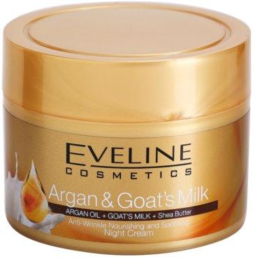 Eveline Cosmetics Argan & Goat´s Milk crema de noche nutritiva y calmante  antiarrugas
