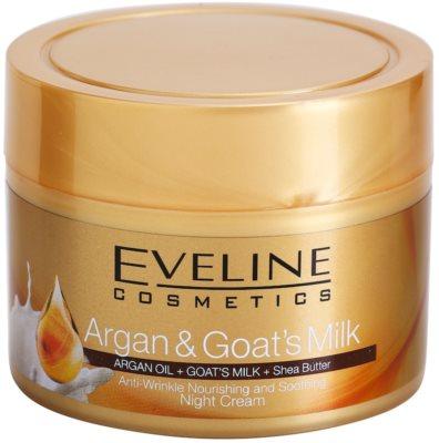 Eveline Cosmetics Argan & Goat´s Milk nährende und beruhigende Nachtcreme gegen Falten