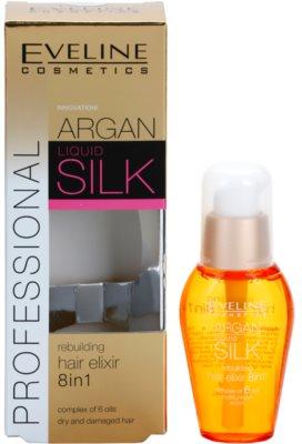 Eveline Cosmetics Argan Liquid Silk поживна олійка для сухого або пошкодженого волосся 1