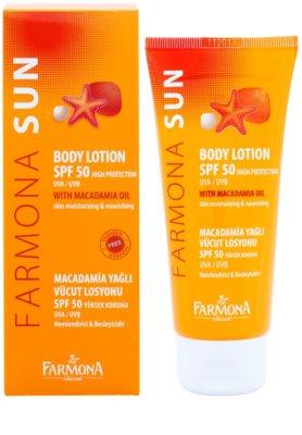 Farmona Sun Loção corporal protetora solar com óleo de macadâmia SPF 50 1