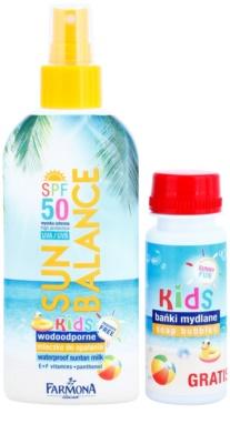 Farmona Sun Balance schützende Sonnenmilch im Spray mit SPF 50 und Blasring für Seifenblasen