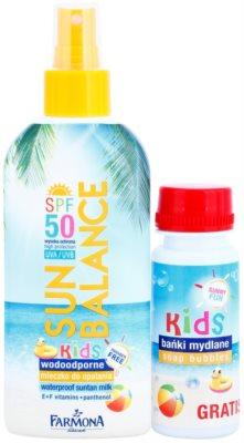 Farmona Sun Balance schützende Sonnenmilch im Spray mit SPF 50 und Blasring für Seifenblasen 1
