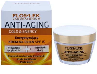 FlosLek Laboratorium Anti-Aging Gold & Energy енергизиращ дневен крем SPF 15 1