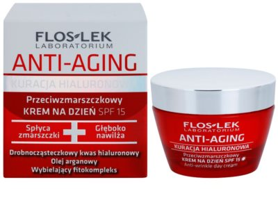 FlosLek Laboratorium Anti-Aging Hyaluronic Therapy дневен хидратиращ крем против стареене на кожата SPF 15 1