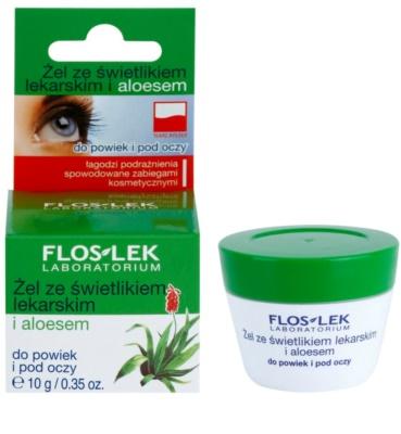 FlosLek Laboratorium Eye Care gel para o contorno dos olhos com luteína e alóe vera 1