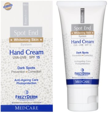 Frezyderm Spot End creme de mãos iluminador contra manchas de pigmentação SPF 15 1