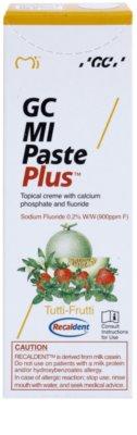 GC MI Paste Plus Tutti-Frutti remineralizační ochranný krém pro citlivé zuby s fluoridem 1