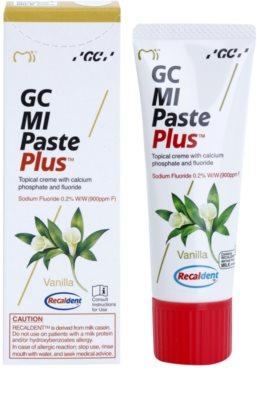 GC MI Paste Plus Vanilla Crema protectoare de remineralizare pentru dinți sensibili cu flor 1
