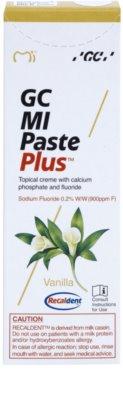 GC MI Paste Plus Vanilla crema protectora remineralizante para dientes sensibles  con fluoruro 2