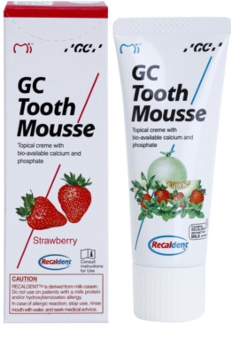 GC Tooth Mousse Strawberry crema protectora remineralizante para dientes sensibles  sin flúor 1