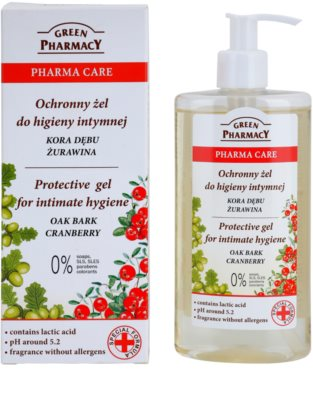 Green Pharmacy Pharma Care Oak Bark Cranberry gel protector para la higiene íntima 1