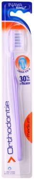 Inava Orthodontie Zahnbürste für Benutzer fester Zahnklammern mit Reiseetui Medium