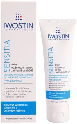Iwostin Sensitia поживний нічний крем з вітамінами C і E для чутливої шкіри та шкіри, схільної до алергії 1