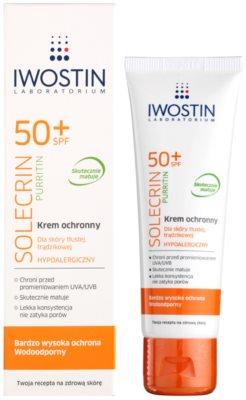 Iwostin Solercin Purritin krem ochronno-matujący do skóry tłustej z niedoskonałościami SPF 50+ 1