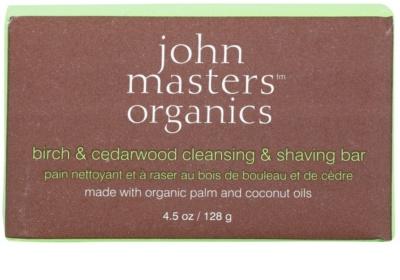 John Masters Organics Birch & Cedarwood Cleansing & Shaving Bar večnamensko milo za moške in ženske