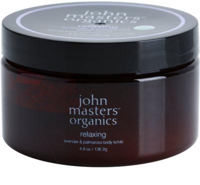 John Masters Organics Lavender & Palmarosa élénkítő testpeeling a finom és sima bőrért