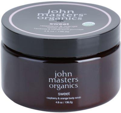 John Masters Organics Sweet Raspberry & Orange telový peeling pre jemnú a hladkú pokožku