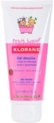 Klorane Petit Junior gel de ducha para cabello y cuerpo con olor a frambuesa