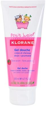 Klorane Petit Junior sprchový gél na telo a vlasy s vôňou malín