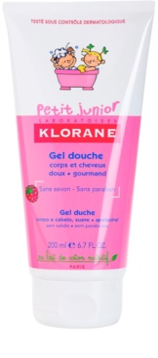 Klorane Petit Junior гель для душу для тіла та волосся з ароматом малини