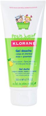 Klorane Petit Junior gel de banho para corpo e cabelo com aromas de peras