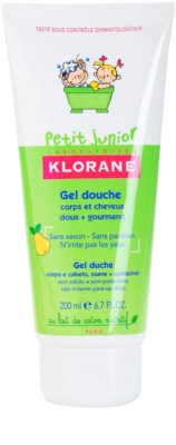 Klorane Petit Junior gel de ducha para cabello y cuerpo con olor a pera