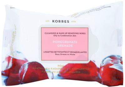 Korres Face Pomegranate tisztító törlőkendő kombinált és zsíros bőrre