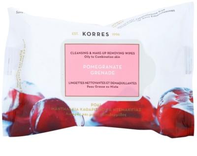 Korres Face Pomegranate toalhitas de limpeza para pele mista e oleosa