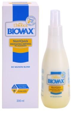 L'biotica Biovax Blond Hair spray hidratante bifásico para cabelo loiro e grisalho 1