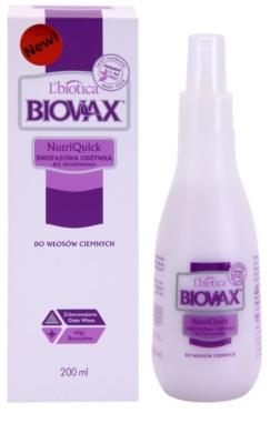 L'biotica Biovax Dark Hair 2-Phasen Feuchtigkeits Spray für braune und schwarze Haare 1