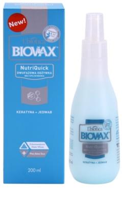 L'biotica Biovax Keratin & Silk dvofazno vlažilno pršilo z gladilnim učinkom 1