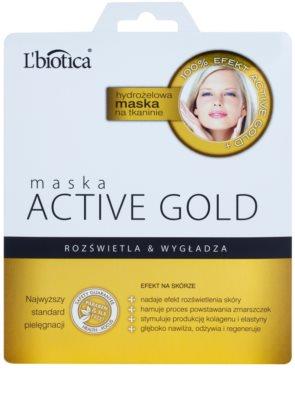 L'biotica Masks Active Gold hidrogel maska iz platna za posvetlitev in zgladitev kože