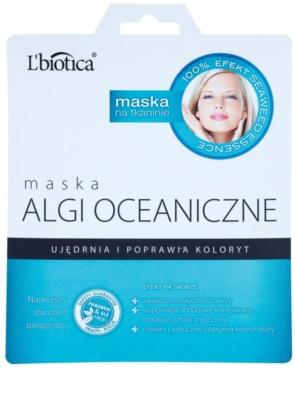 L'biotica Masks Seaweed Essence mascarilla de hoja para reafirmar la piel y unificar su tono