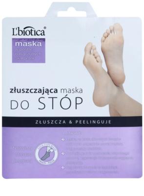 L'biotica Masks meias esfoliante para suavizar e hidratar a pele dos pés